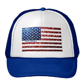 Personalize USA flag red blue sparkles AMERICA Trucker Hat