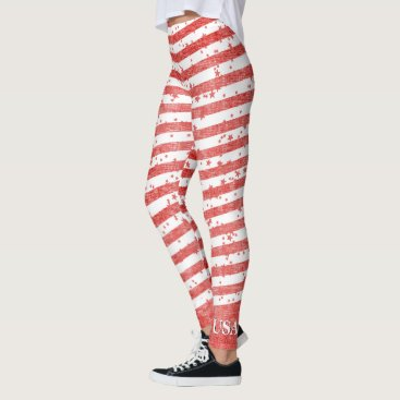 USA Themed Personalize:  USA Red and White Patriotic Stripes Leggings