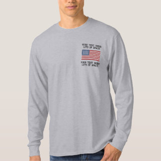 Personalize USA Stars 'n Stripes FLAG Embroidery Embroidered Long Sleeve T-Shirt