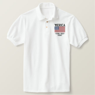 Personalize USA Stars 'n Stripes FLAG Embroidery Embroidered Shirt