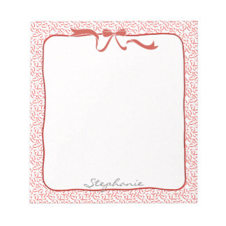 Personalize: Valentine Red Hearts Outline Pattern Notepad