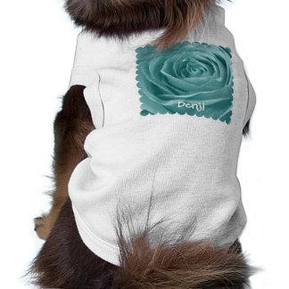 Personalize Vibrant Aqua Rose Floral Photography T-Shirt