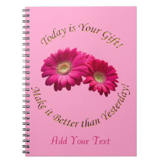 Personalize Vibrant Rose Pink Gerbera Daisy Notebook
