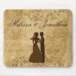 Personalize Vintage paper Bride Groom Wedding Mouse Pad