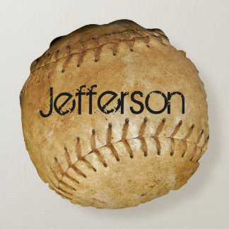 Personalize Vintage White Baseball White stitching Round Pillow