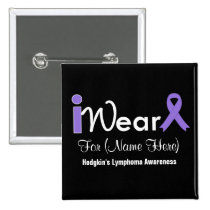 Personalize Violet Ribbon Hodgkin's Lymphoma 2 Inch Square Button