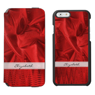 Personalize: Vivid Red Faux Metallic Lame' Fabric iPhone 6/6s Wallet Case