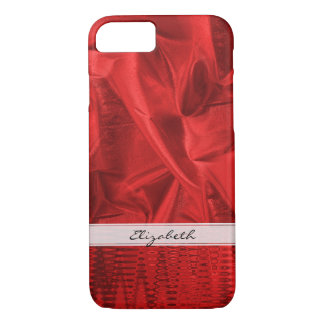 Personalize: Vivid Red Faux Metallic Lame' Fabric iPhone 8/7 Case