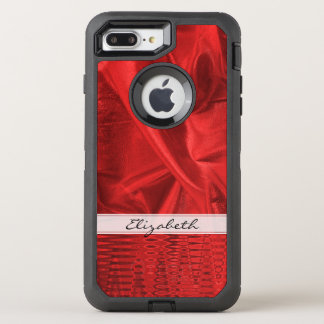 Personalize: Vivid Red Faux Metallic Lame' Fabric OtterBox Defender iPhone 8 Plus/7 Plus Case