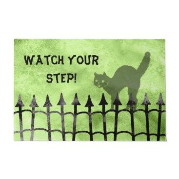 "Halloween Themed Personalize:  ""Watch your step"" Halloween Greeting Doormat"