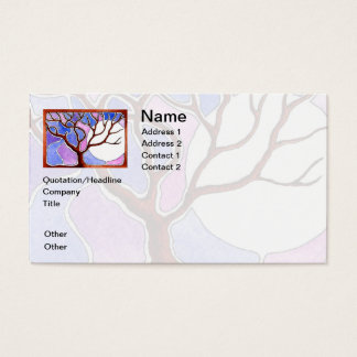 Personalize Watercolor Tree and Moon - Blue Pink Business Card