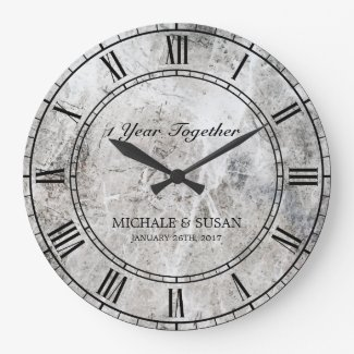 Personalize Wedding Anniversary Marble Background Large Clock