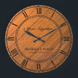"""Personalize Wedding Anniversary (Wood Background) Large Clock<br><div class=""""desc"""">Best Personalize Wedding Anniversary (Wood Background) Clock. Don&#39;t forget to change anniversary years,  couples first name and anniversary date.</div>"""