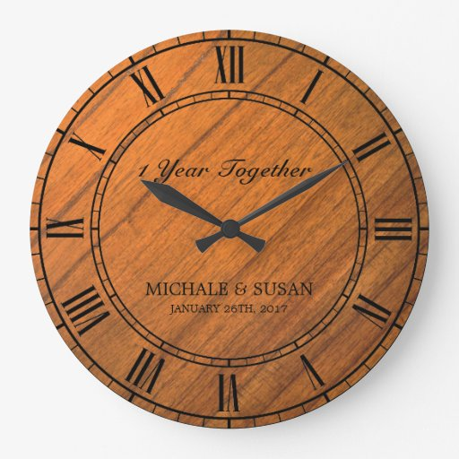 Personalize Wedding Anniversary (Wood Background) Large Clock