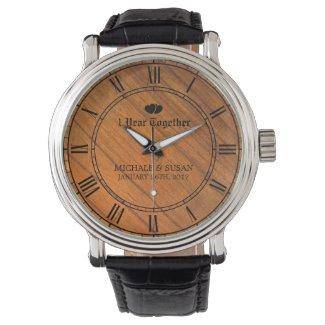 Personalize Wedding Anniversary (Wood Background) Wrist Watch
