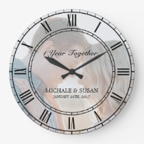 Personalize Wedding Anniversary (Your Photo) Large Clock