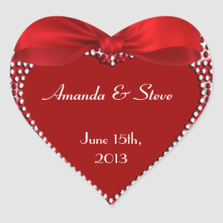 Personalize Wedding Stickers - Red Heart -  Ribbon