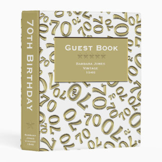 Personalize: White/Gold 70th Birthday Guest Book Mini Binder