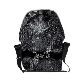 Personalize: White Ink on Black Unique Doodle Art Small Messenger Bag