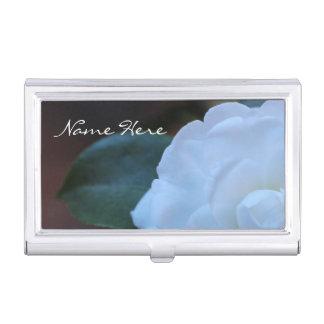 (Personalize) White Rose photo Business Card Cases