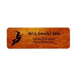 Personalize: Witch in Flight on Broom Silhouette Label