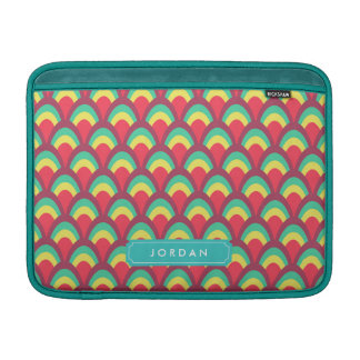 Personalize with Name Colorful Geometric Pattern MacBook Sleeve