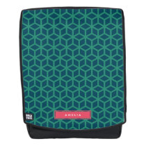 Personalize with Name Geometric Pattern Teal Backpack