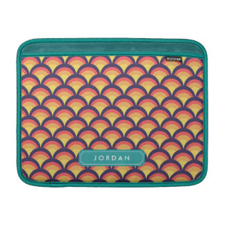 Personalize with Name Multi-Color Waves Geometric MacBook Sleeve