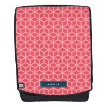 Personalize with Name Pattern Pink Geometric Backpack