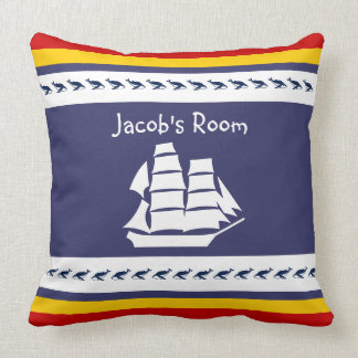 Personalize with name whale + sailboat throw pillow