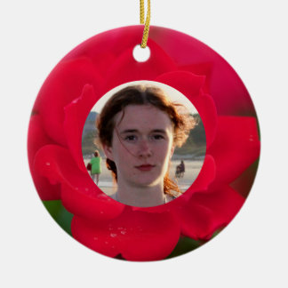 (Personalize) With Photos Red Rose in Bloom Dew Ceramic Ornament