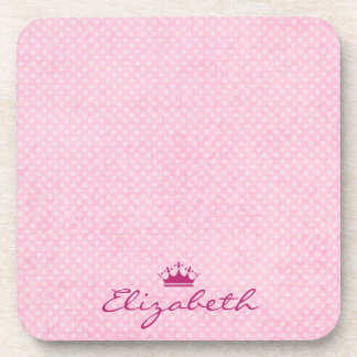 Personalize with Purple Tiara on Pink Polka Dots Beverage Coaster