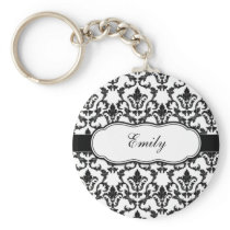Personalize With Your Name Damask Keychain