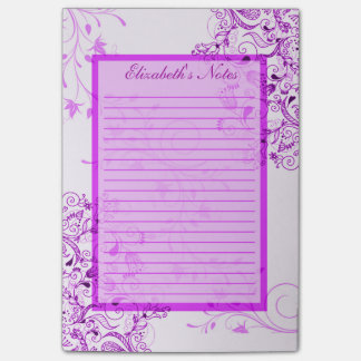 Personalize Womens Purple White Swirly Vines Notes Post-it® Notes