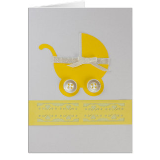 Personalize yellow Baby carriage with buttons Card