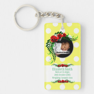 Personalize Yellow Baby Girl Memento Roses Pearls Keychain