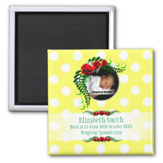 Personalize Yellow Baby Girl Memento Roses Pearls 2 Inch Square Magnet