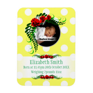 Personalize Yellow Baby Girl Memento Roses Pearls Rectangular Photo Magnet