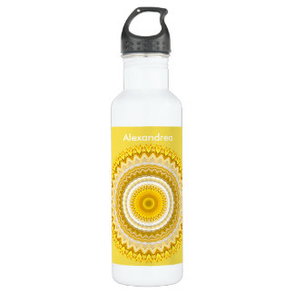 Personalize:  Yellow Daffodil Floral Mandala Stainless Steel Water Bottle