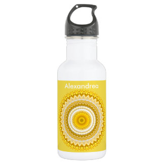 Personalize:  Yellow Daffodil Floral Mandala Water Bottle