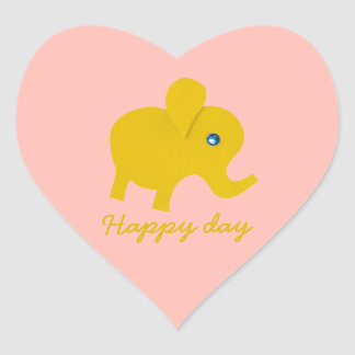 Personalize yellow happy elephant heart sticker