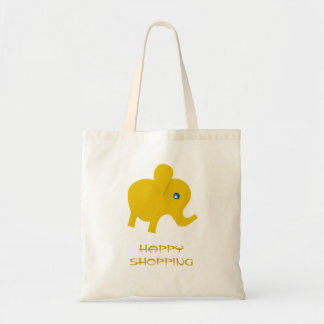 Personalize yellow happy elephant tote bag