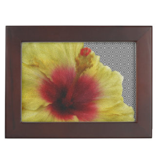 Personalize Yellow Hibiscus Flower Painting Memory Boxes