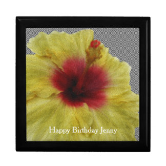 Personalize Yellow Hibiscus Flower Painting Trinket Boxes