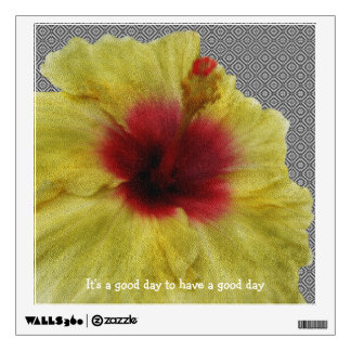 Personalize Yellow Hibiscus Flower Painting Wall Sticker