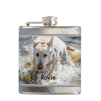 Personalize:  Yellow Labrador Photo Framed Hip Flask