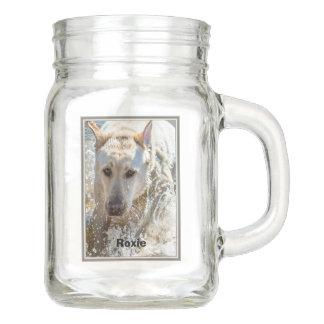 Personalize:  Yellow Labrador Photo Framed Mason Jar
