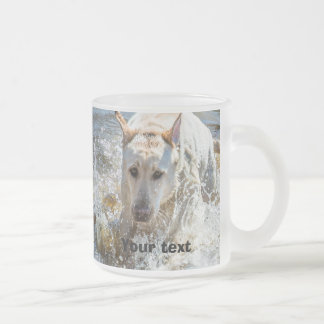 Personalize:  Yellow Labrador Photo Playing Frosted Glass Coffee Mug