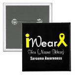 Personalize Yellow Ribbon Sarcoma 2 Inch Square Button