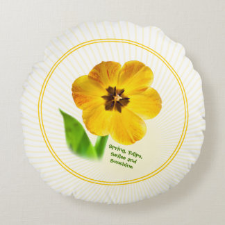 Personalize: Yellow Spring Tulips Picture Round Pillow
